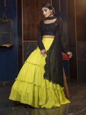 Partywear Black and Green Ruffle Lehenga Choli