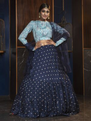 Designer Navy Blue Crop Top Lehenga Choli with Dupatta