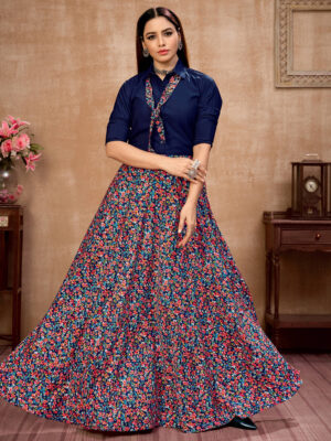 Navy Blue Floral Printed Satin Silk Indo-Western Skirt with Shirt