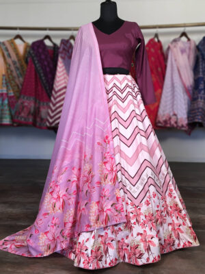 Pink and Purple Multi Color Floral Printed Party Wear Lehenga