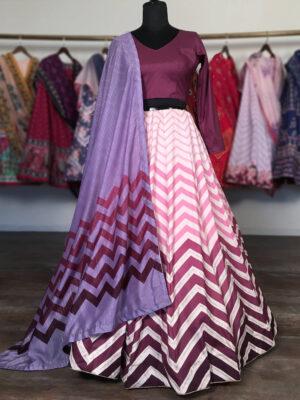 Stylish Pink and Purple Zigzag Printed Satin Silk Lehenga Choli