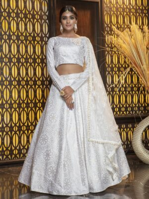White Foil Printed Bridesmaid Cotton Lehenga Choli