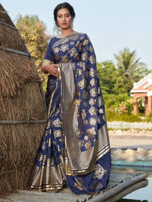 Designer Floral Foil Printed Navy Blue Silk Saree
