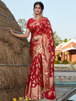 Designer Foil Printed Red Bridal Silk Saree