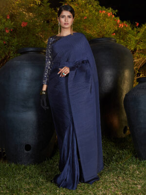 Navy Blue Pleated Party Wear Saree with Designer Blouse