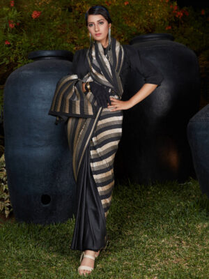 Party Wear Black and Golden Pleated Half Saree