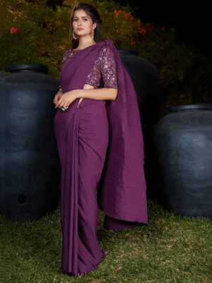 Purple Pleated Party Wear Silk Saree with Designer Blouse