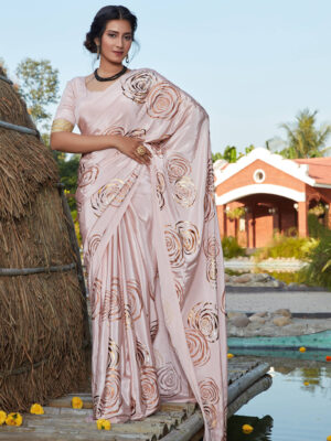Party Wear Baby Pink Floral Foil Printed Silk Saree