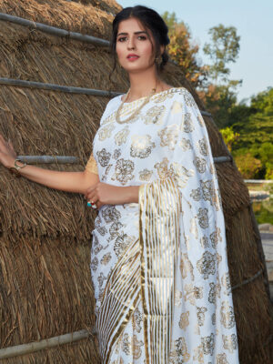 Stylish Party Wear White Silk Foil Printed Saree